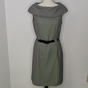 Tahari Black and White Dress with Belt